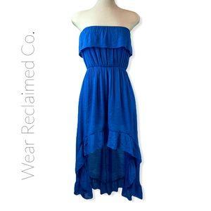 UK2LA Blue Strapless Peasant Asymmetrical Sundress